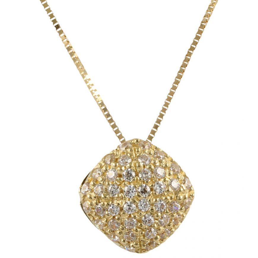 Collana in oro giallo 14kt con pavé di zirconi | Gioiello Italiano