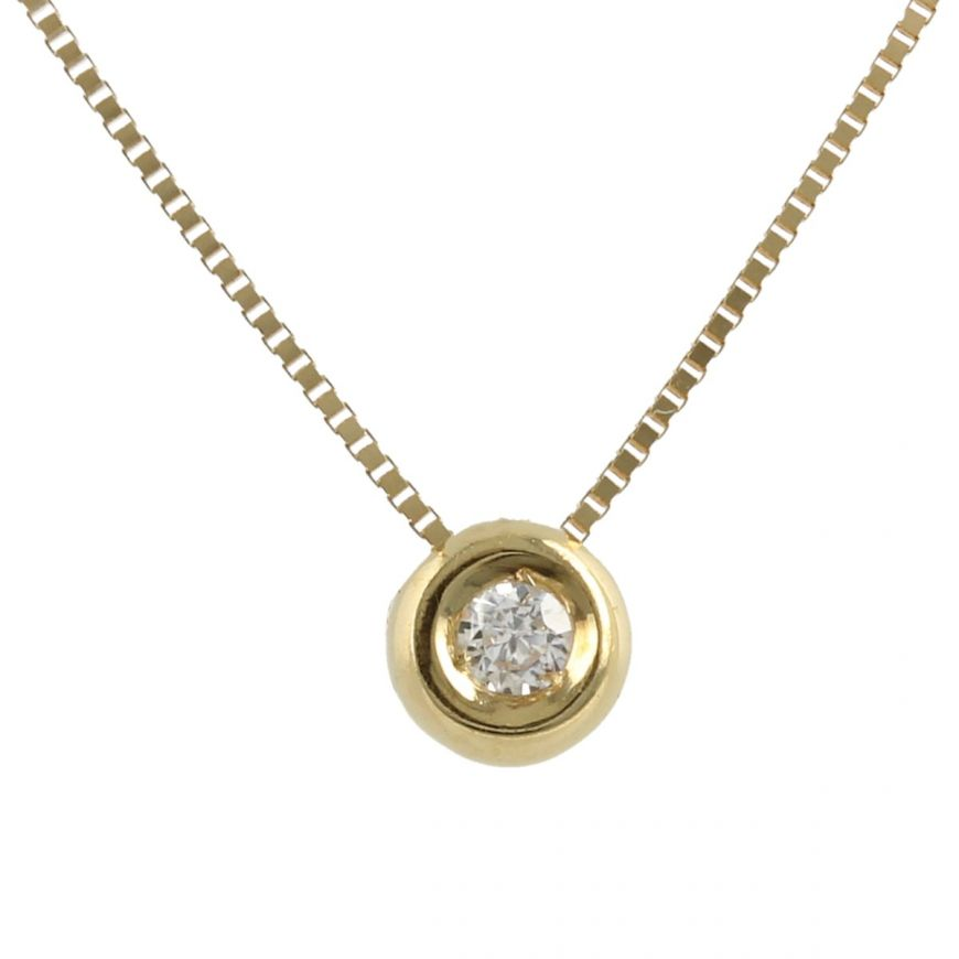 14kt yellow gold point light necklace with cubic zirconia | Gioiello Italiano