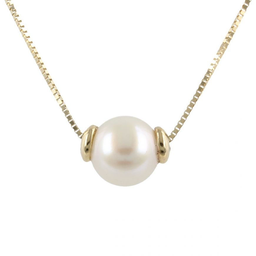 14kt yellow gold necklace with cultured pearl | Gioiello Italiano