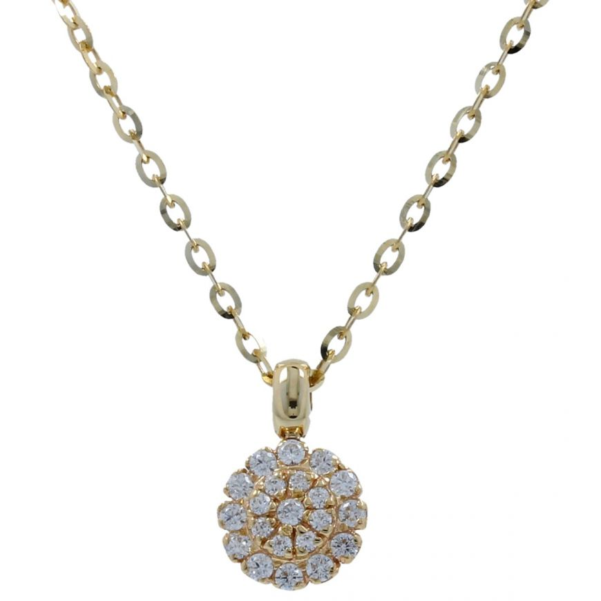 14kt gold necklace with cubic zirconia | Gioiello Italiano
