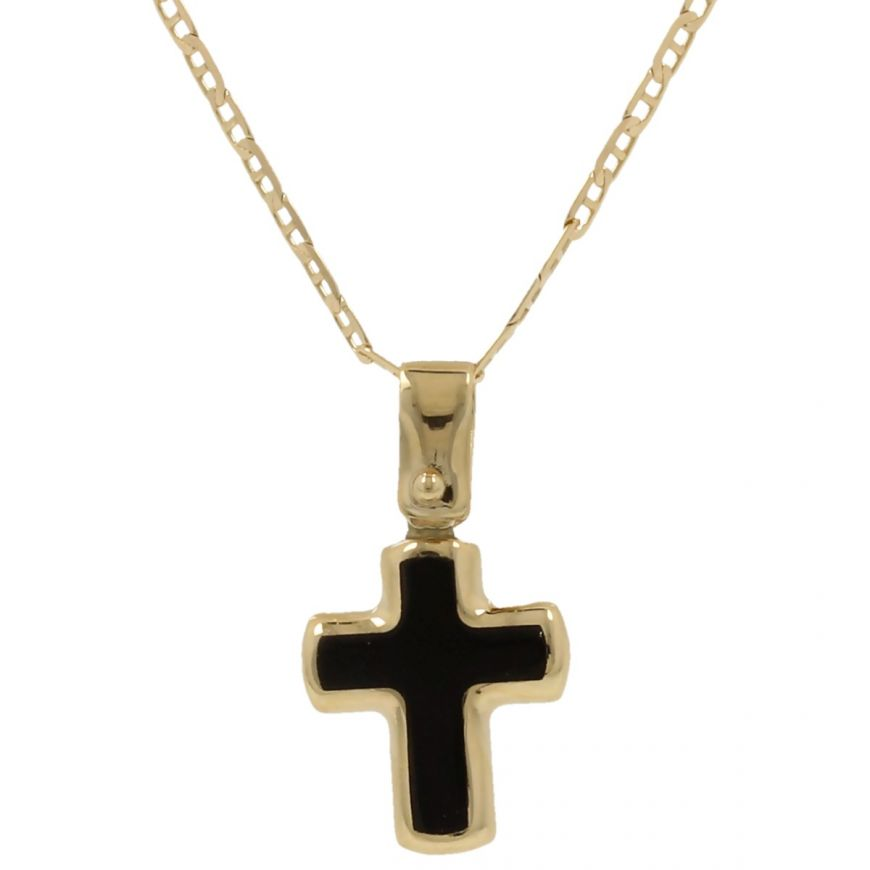 Yellow gold cross necklace with onyx | Gioiello Italiano