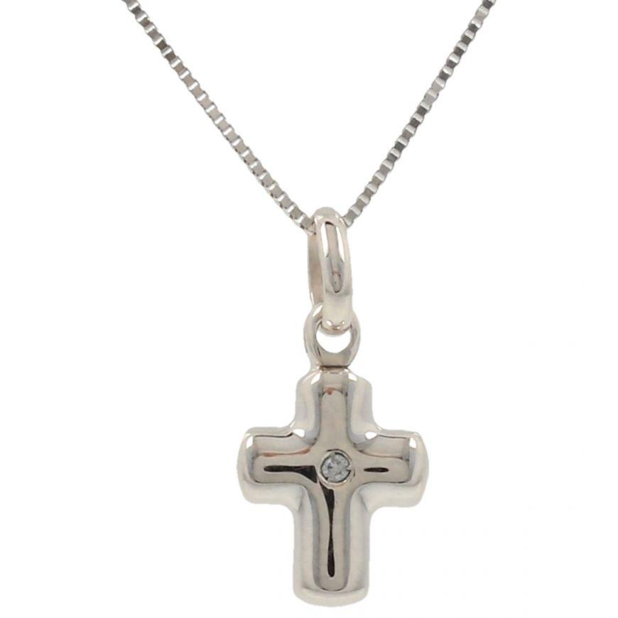 Collana con croce in oro 14kt e zircone bianco | Gioiello Italiano
