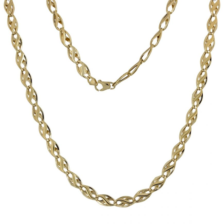 14kt yellow gold chain with cross links | Gioiello Italiano