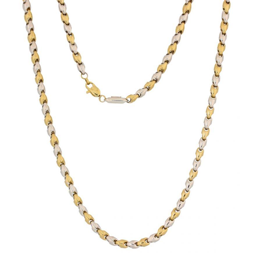 14kt yellow and white gold link men chain   Gioiello Italiano