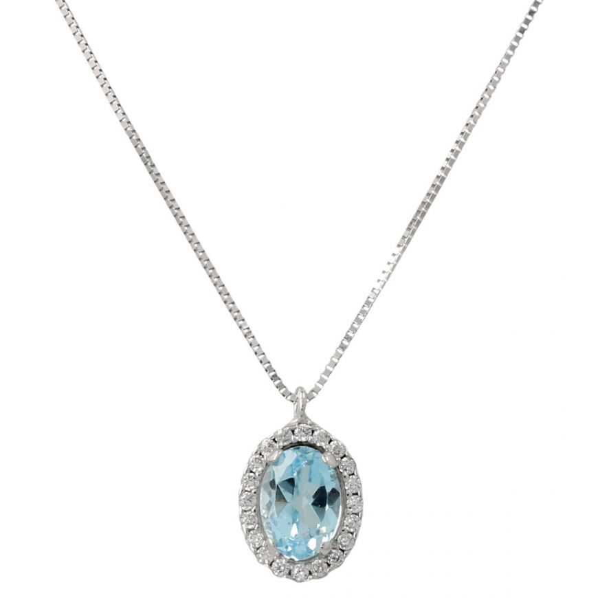 14kt white gold necklace with topaz and zircons | Gioiello Italiano