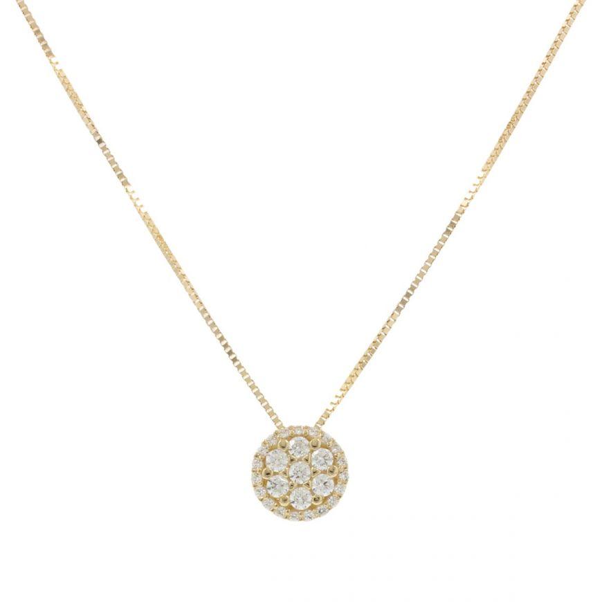 Collana in oro giallo con pendente tondo e zirconi | Gioiello Italiano