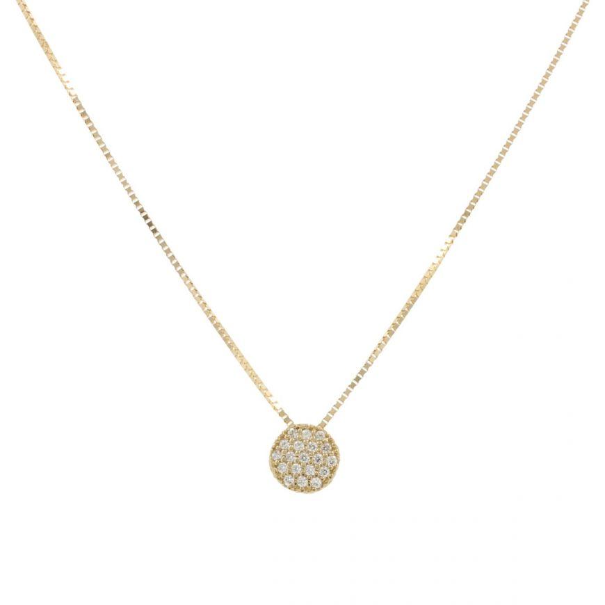 Collana in oro 14kt con pavé di zirconi bianchi | Gioiello Italiano