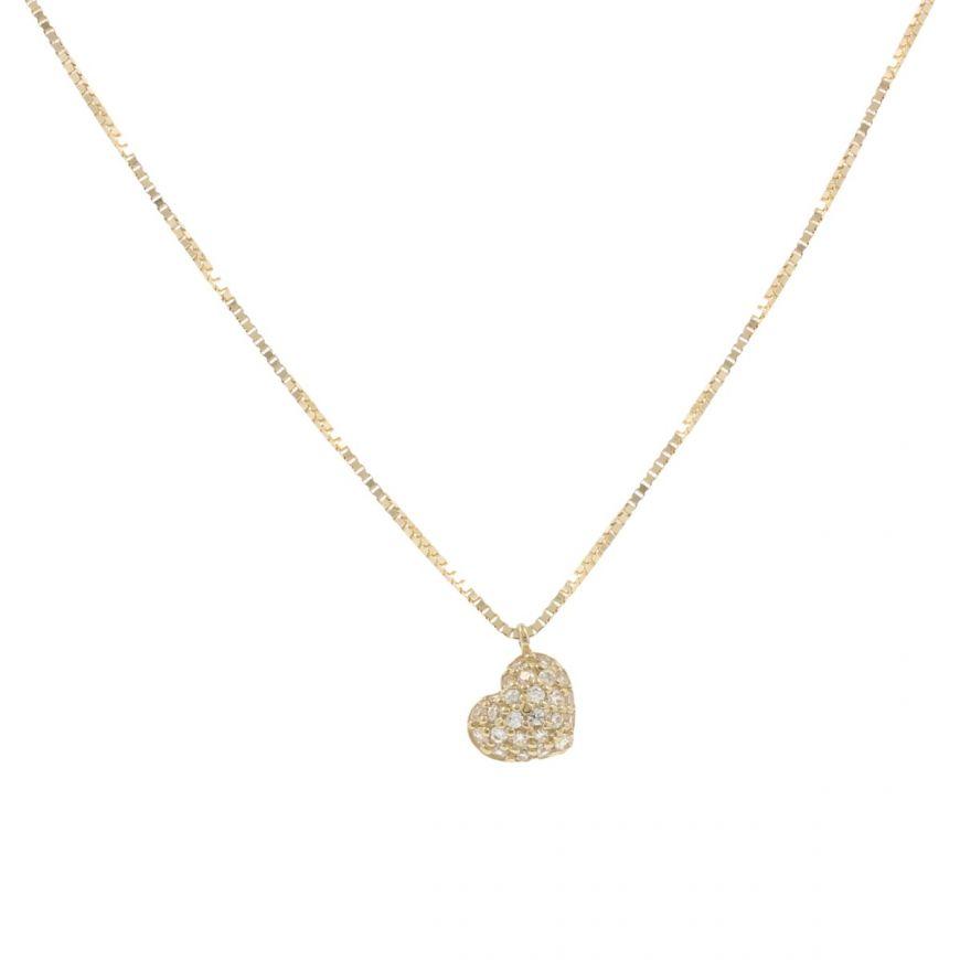 Yellow gold heart necklace with zircons pave | Gioiello Italiano