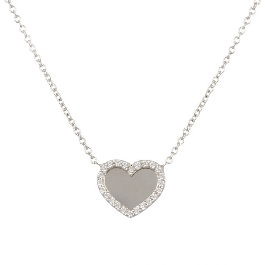 White gold heart necklace with white cubic zirconia | Gioiello Italiano