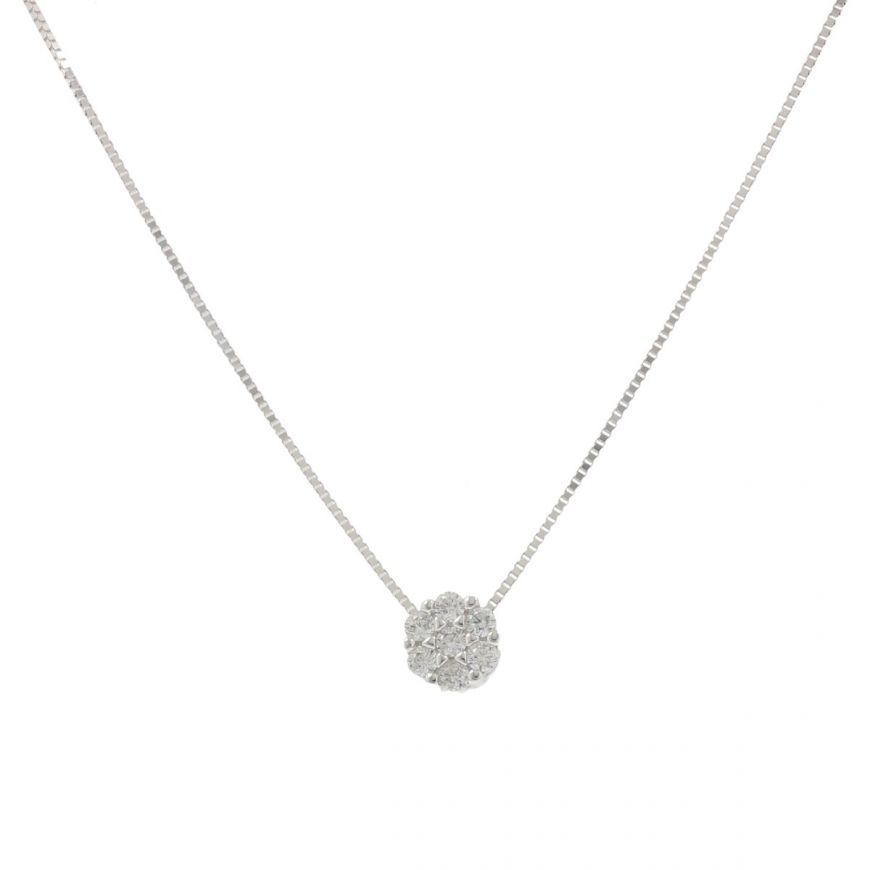 White gold light point necklace with zircons | Gioiello Italiano