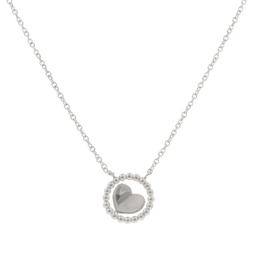 Collana in oro bianco 14kt con cuore | Gioiello Italiano