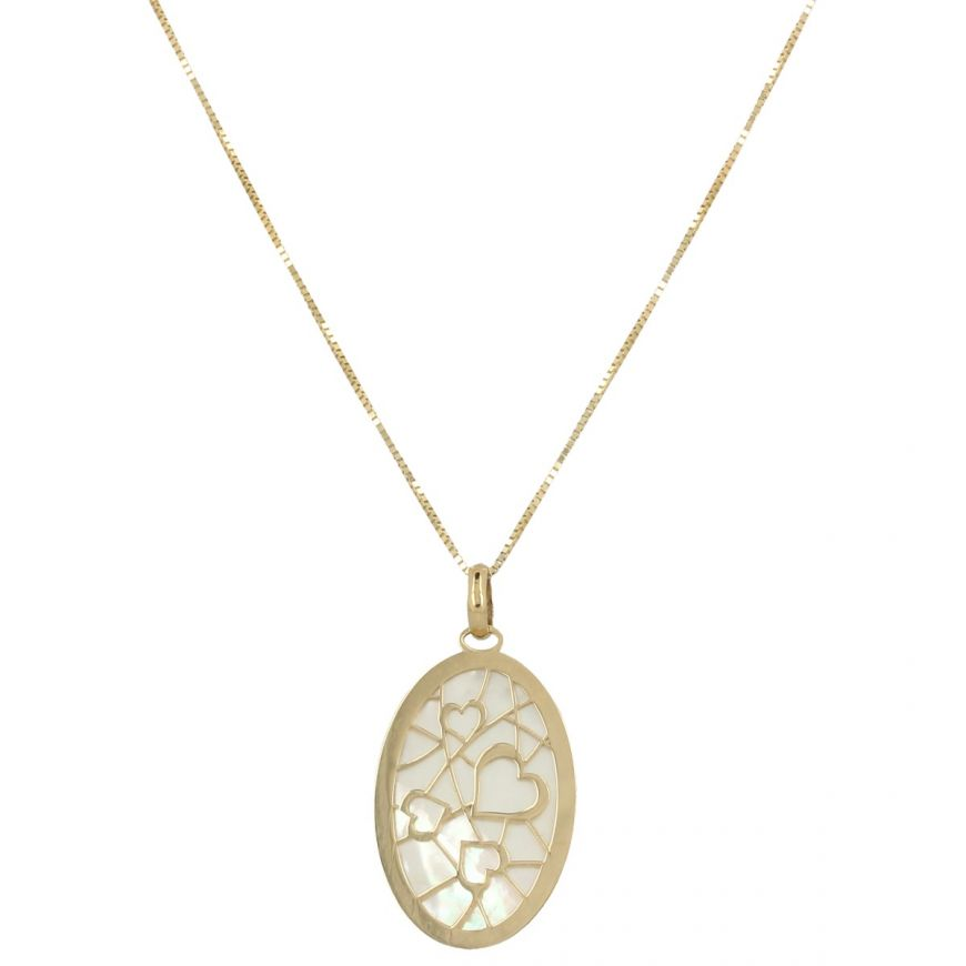 Necklace with hearts in yellow gold and mother-of-pearl | Gioiello Italiano