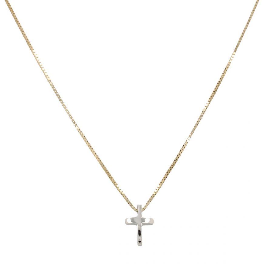 Collanina in oro 14kt con croce bianca   Gioiello Italiano