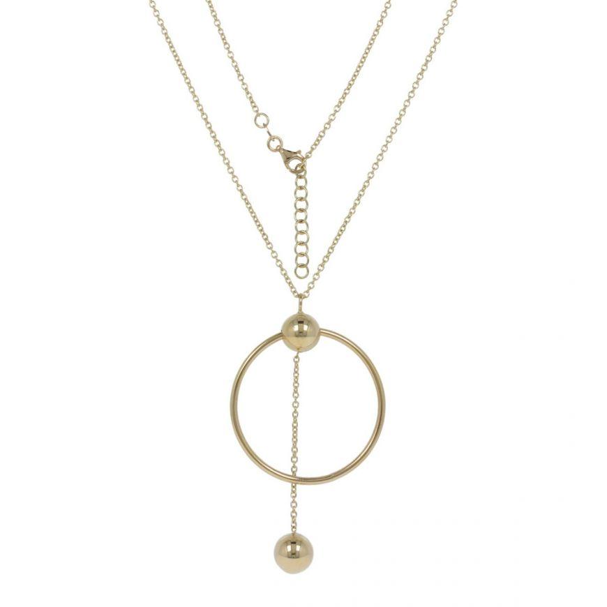 Collana in oro giallo con pendente a cerchio   Gioiello Italiano