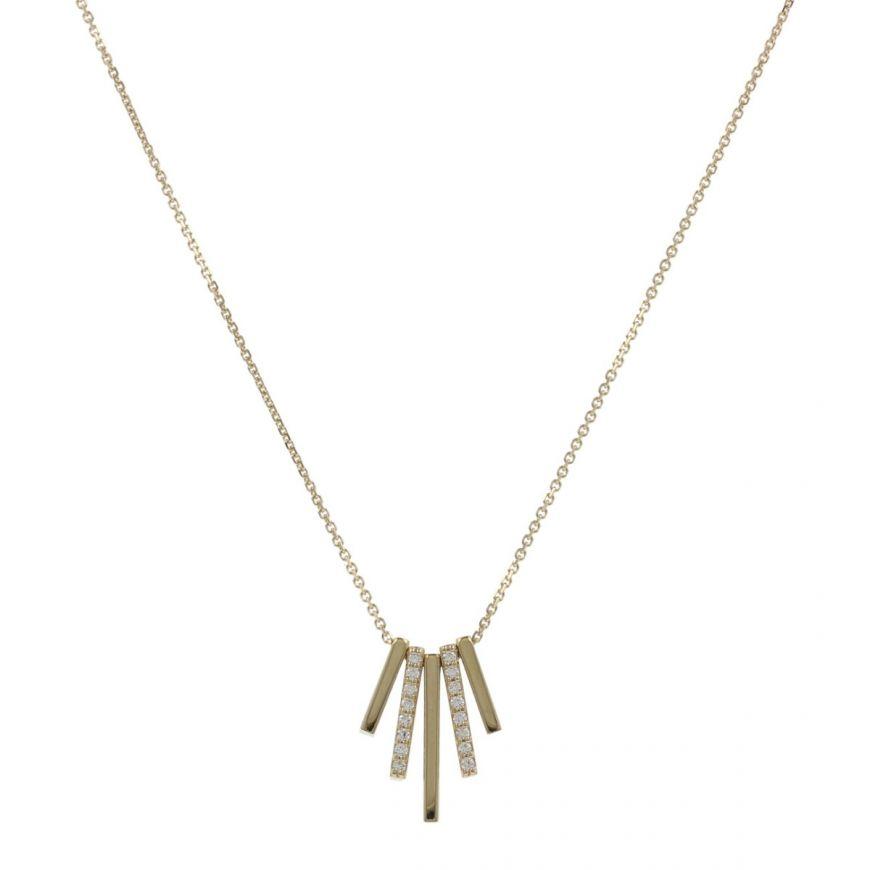 Collana con cinque barre in oro 14kt e zirconi cubici | Gioiello Italiano