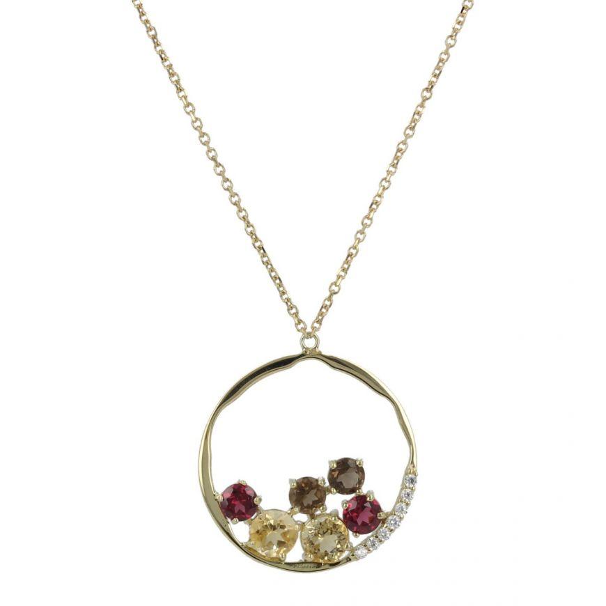 Collana con pendente a cerchio in oro giallo e pietre naturali   Gioiello Italiano