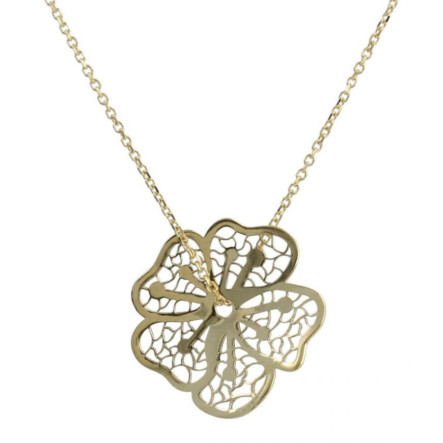 Collana con fiore in oro giallo 14kt | Gioiello Italiano