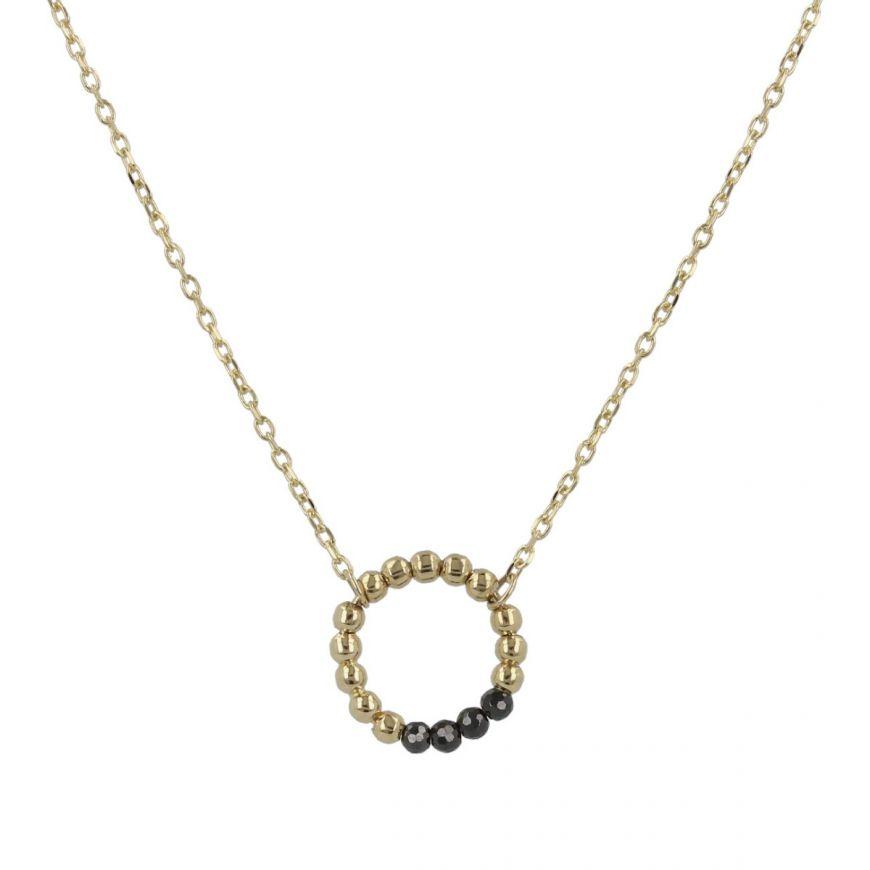 Girocollo in oro giallo con perline e zirconi neri   Gioiello Italiano