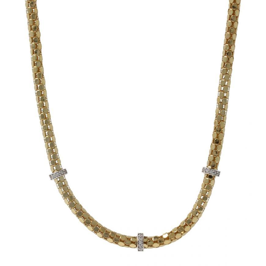 Collana coreana piatta in oro giallo 14kt con zirconi | Gioiello Italiano