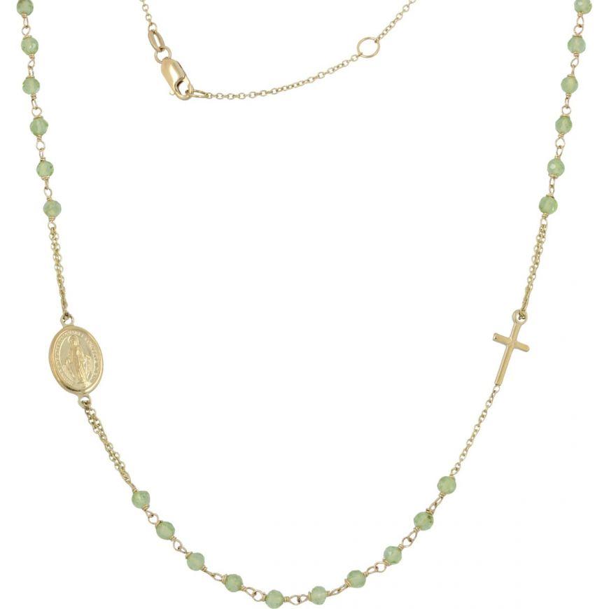 Collana rosario in oro giallo con zirconi verdi | Gioiello Italiano