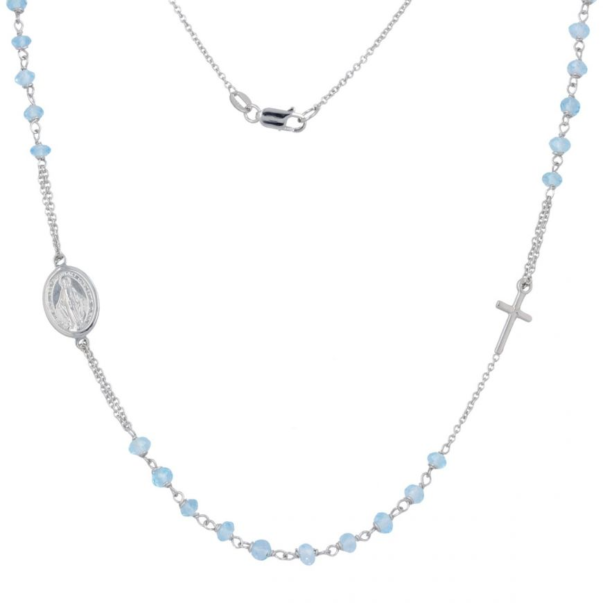 Rosary necklace in white gold with topaz | Gioiello Italiano