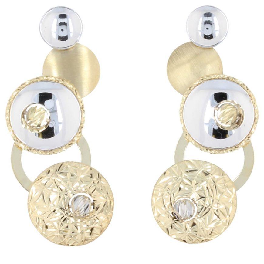 14kt bicolor gold Glitter earrings | Gioiello Italiano