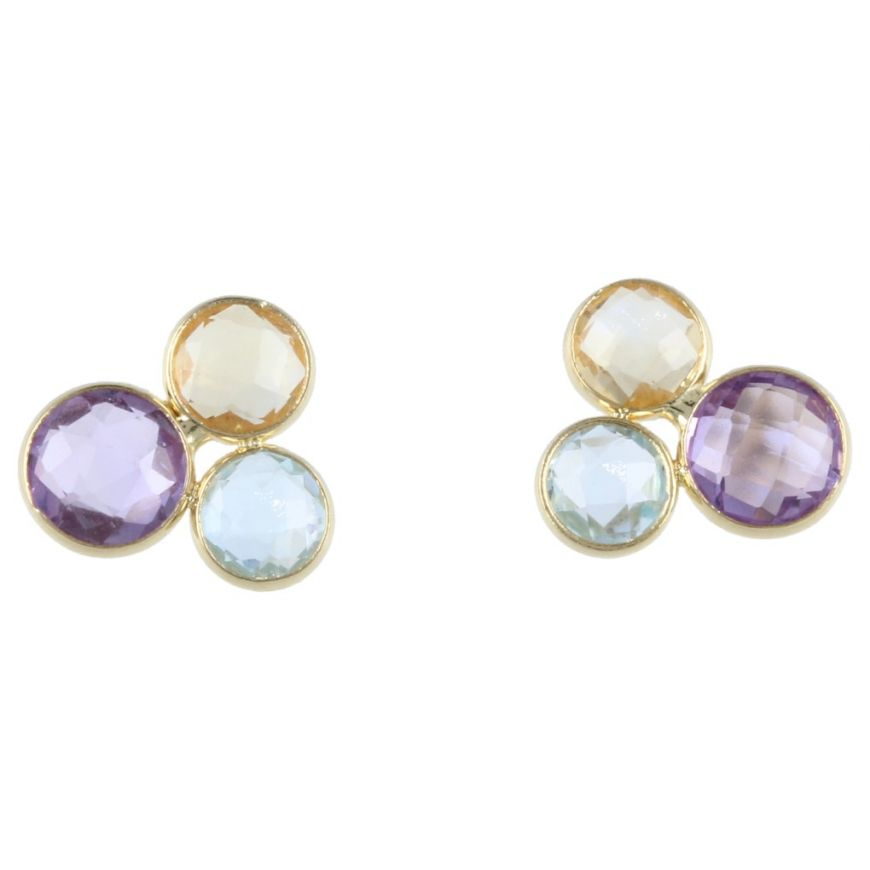 Yellow gold earrings with natural stones | Gioiello Italiano