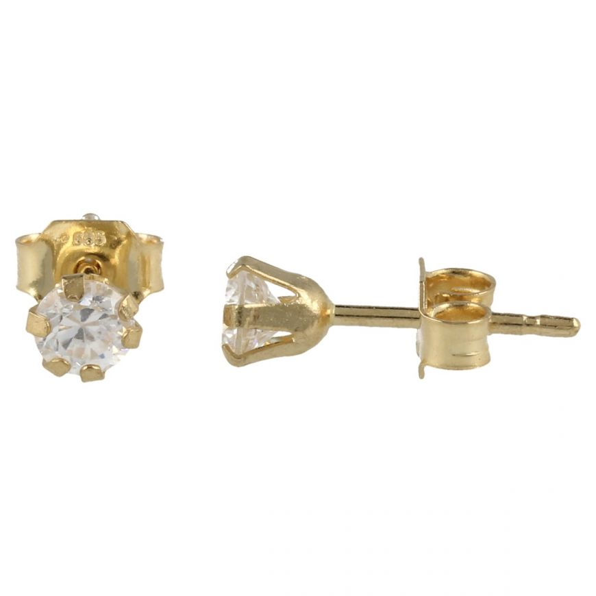 Yellow gold point light earrings with rounded zircons | Gioiello Italiano