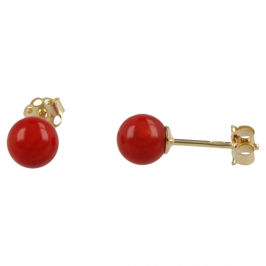 14kt yellow gold earrings with red coral | Gioiello Italiano