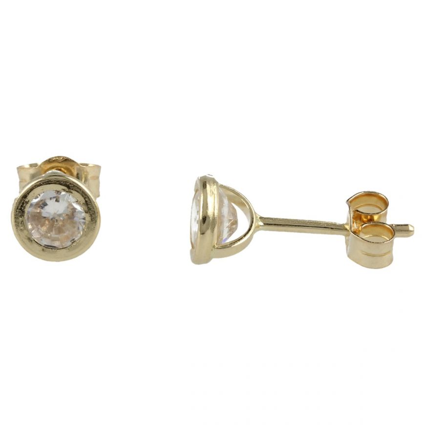 Yellow gold round point light earrings with cubic zirconia | Gioiello Italiano