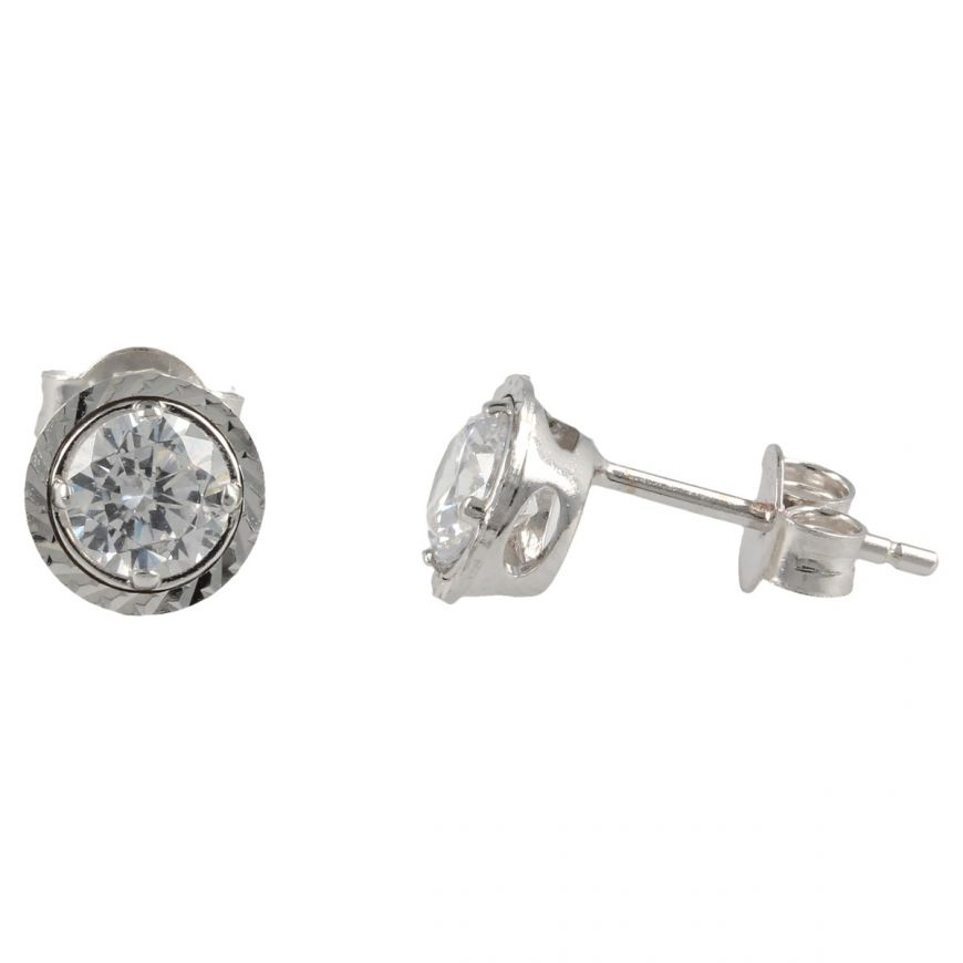White gold point light stud earrings with cubic zirconia | Gioiello Italiano