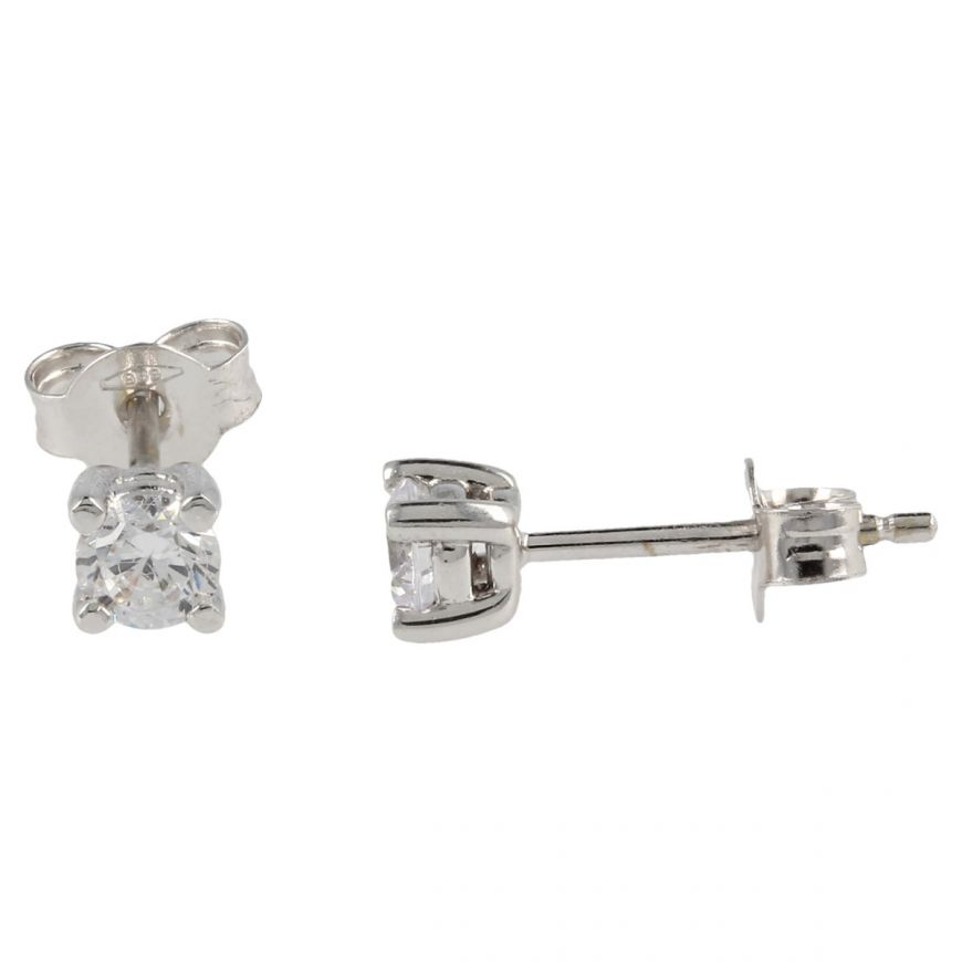 14kt point light white gold earrings with white cubic zirconia | Gioiello Italiano