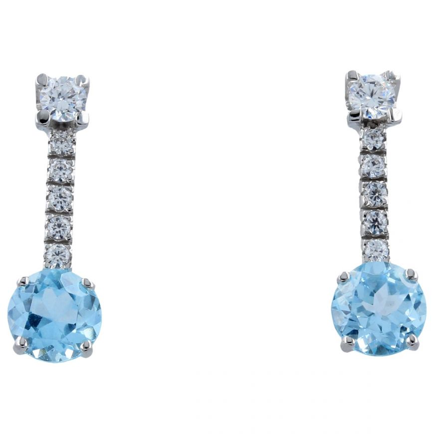 14kt white gold earrings with blue topaz   Gioiello Italiano