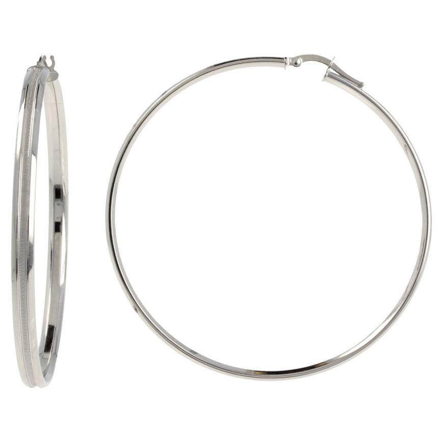 14kt white gold big hoop earrings | Gioiello Italiano