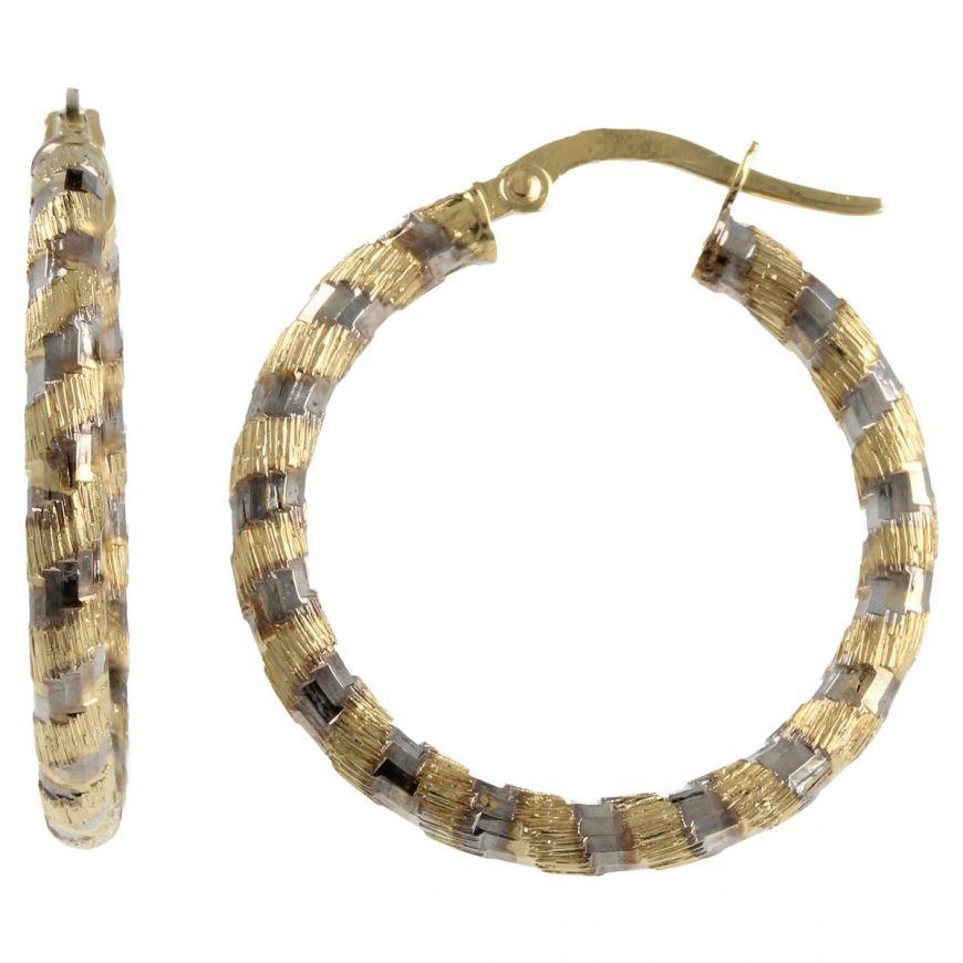 Yellow and white gold tube hoop earrings | Gioiello Italiano