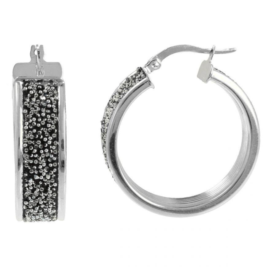 Round earrings with glitter and svarowski | Gioiello Italiano