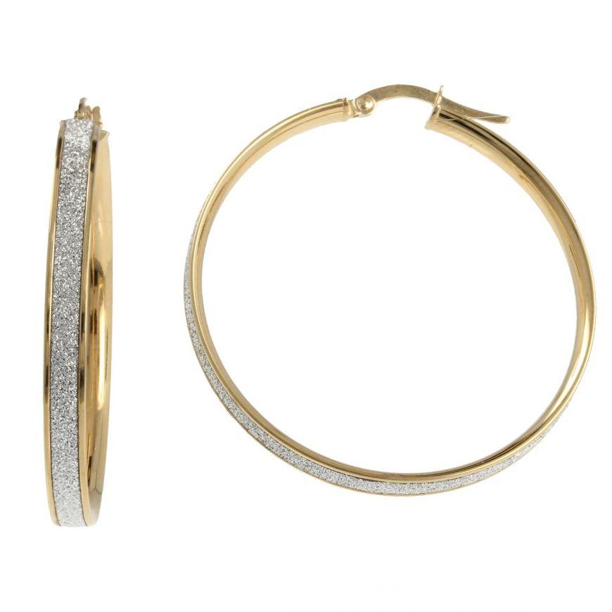 Yellow gold hoop earrings with glitter | Gioiello Italiano