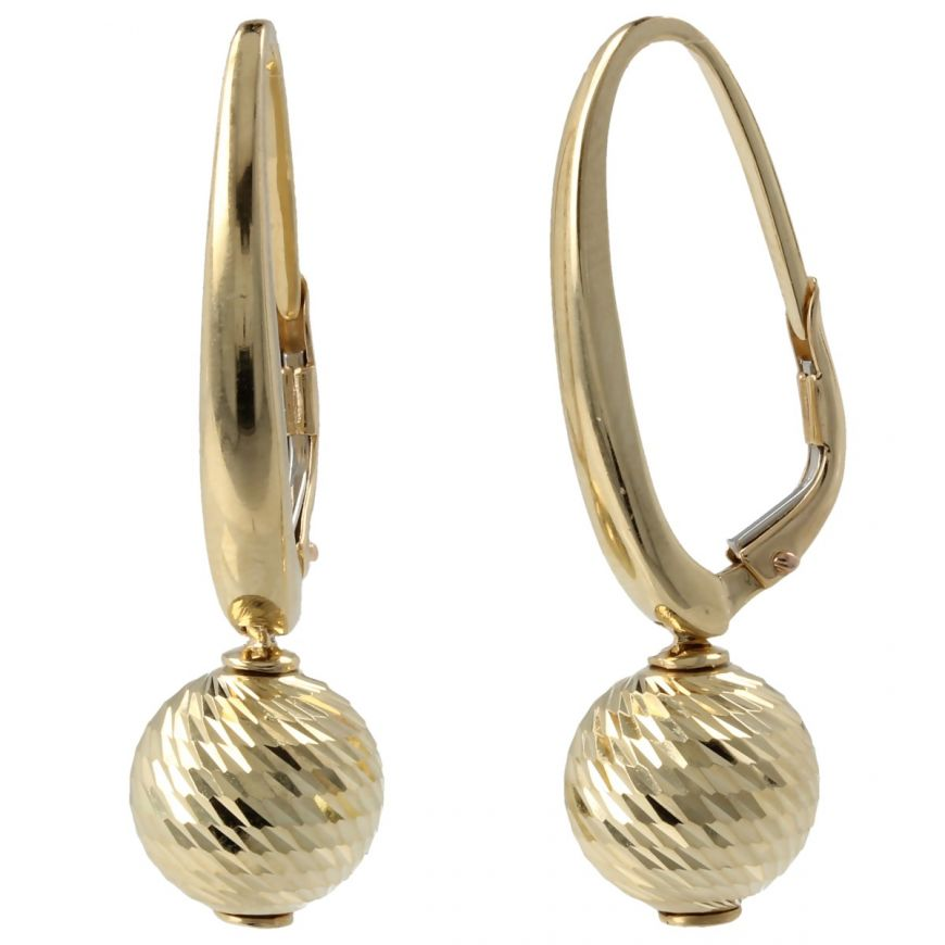 Orecchini con pallina diamantata in oro 14kt | Gioiello Italiano