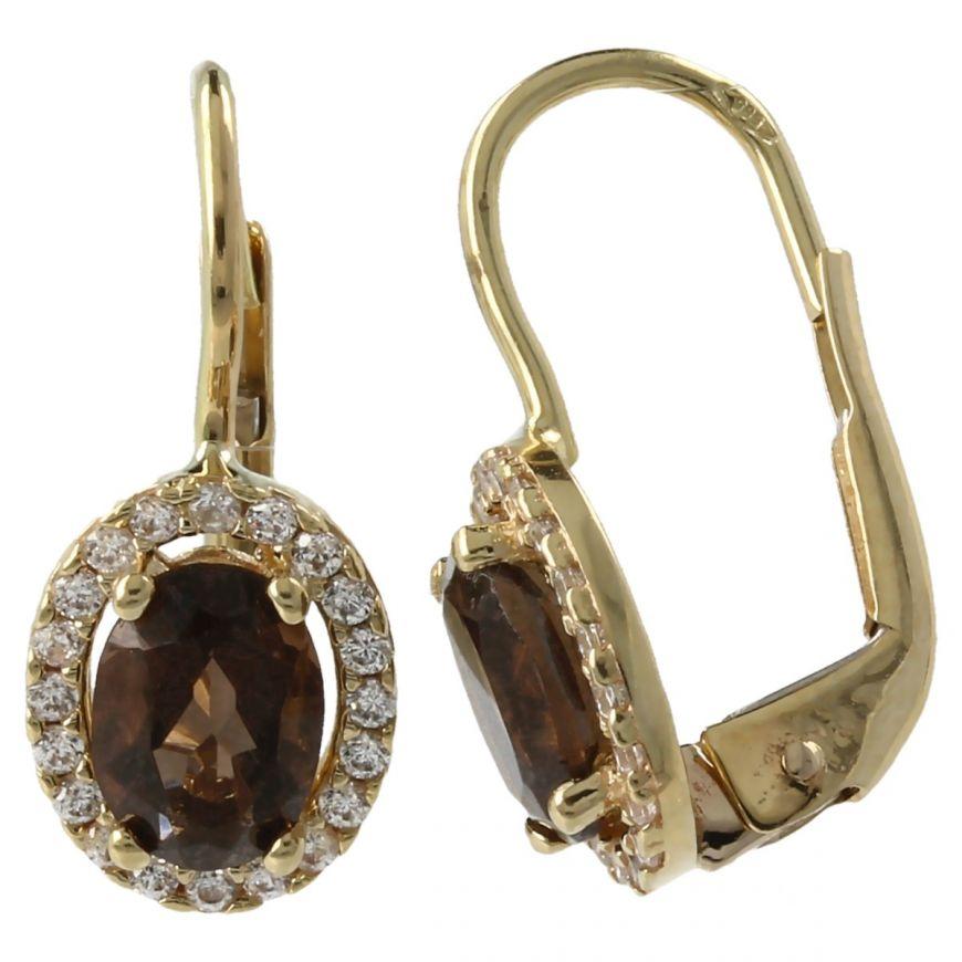 14kt yellow gold earrings with smoky quartz and zircons | Gioiello Italiano