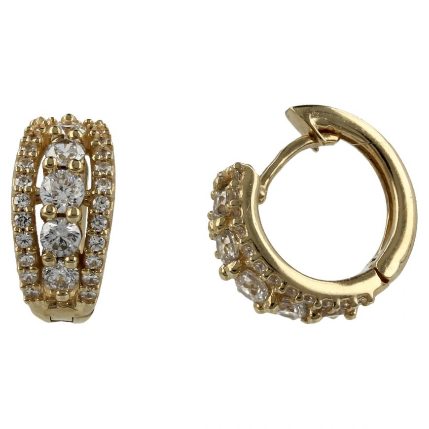 14kt yellow gold earrings with white cubic zirconia | Gioiello Italiano