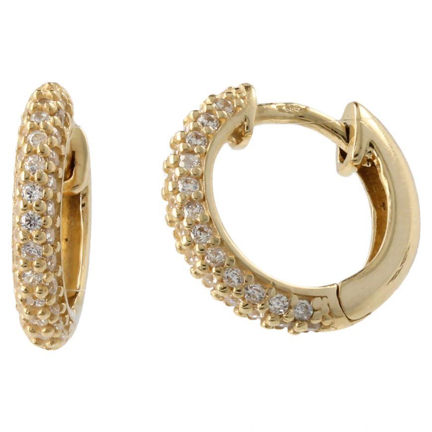 14kt gold hoop earrings with zircons | Gioiello Italiano