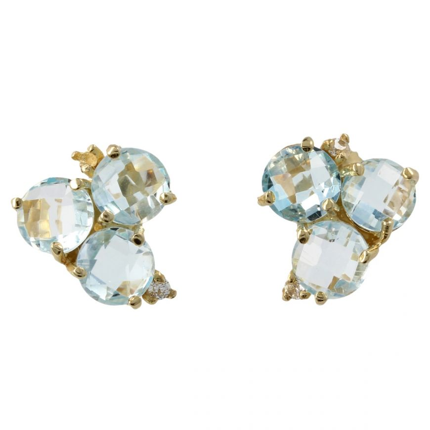 Yellow gold Trilogy earrings with blue topaz | Gioiello Italiano