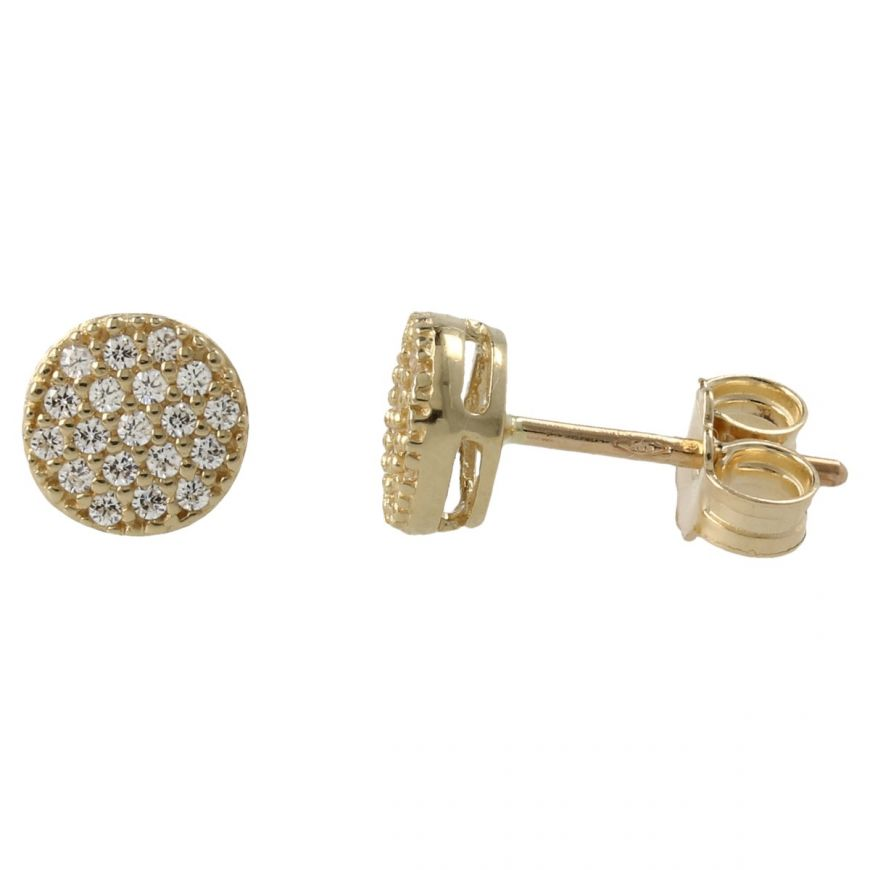 Stud earrings with cubic zirconia pave | Gioiello Italiano