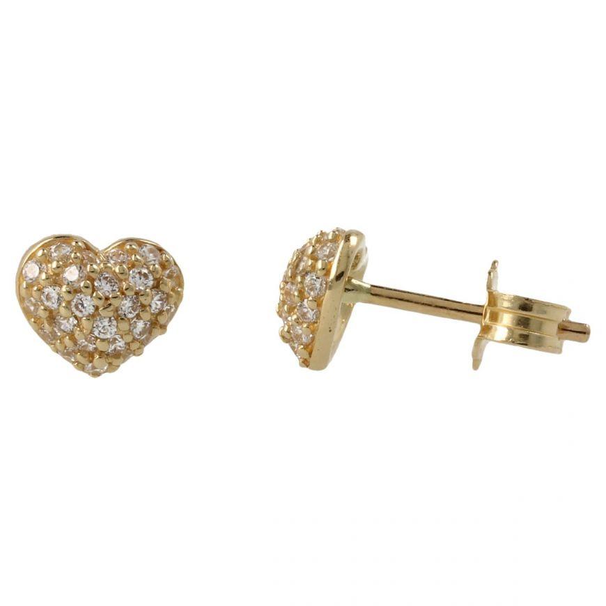 Yellow gold heart earrings with zircons pave | Gioiello Italiano