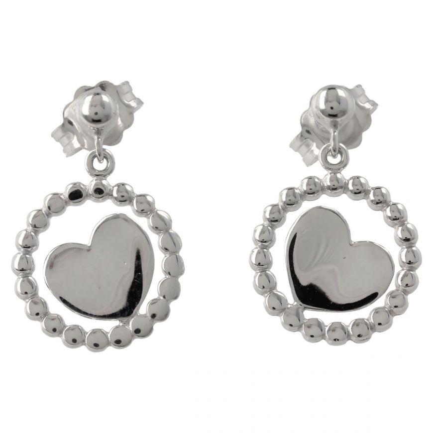Round white gold earrings with hearts | Gioiello Italiano