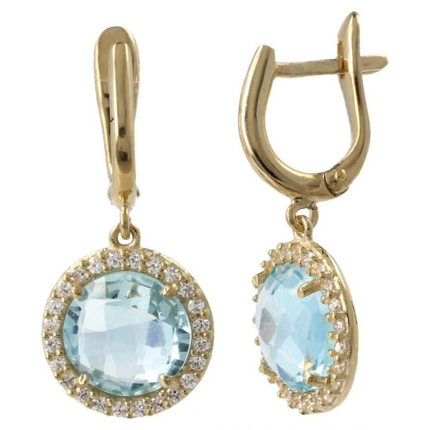 Yellow gold earrings with blue topaz and zircons | Gioiello Italiano