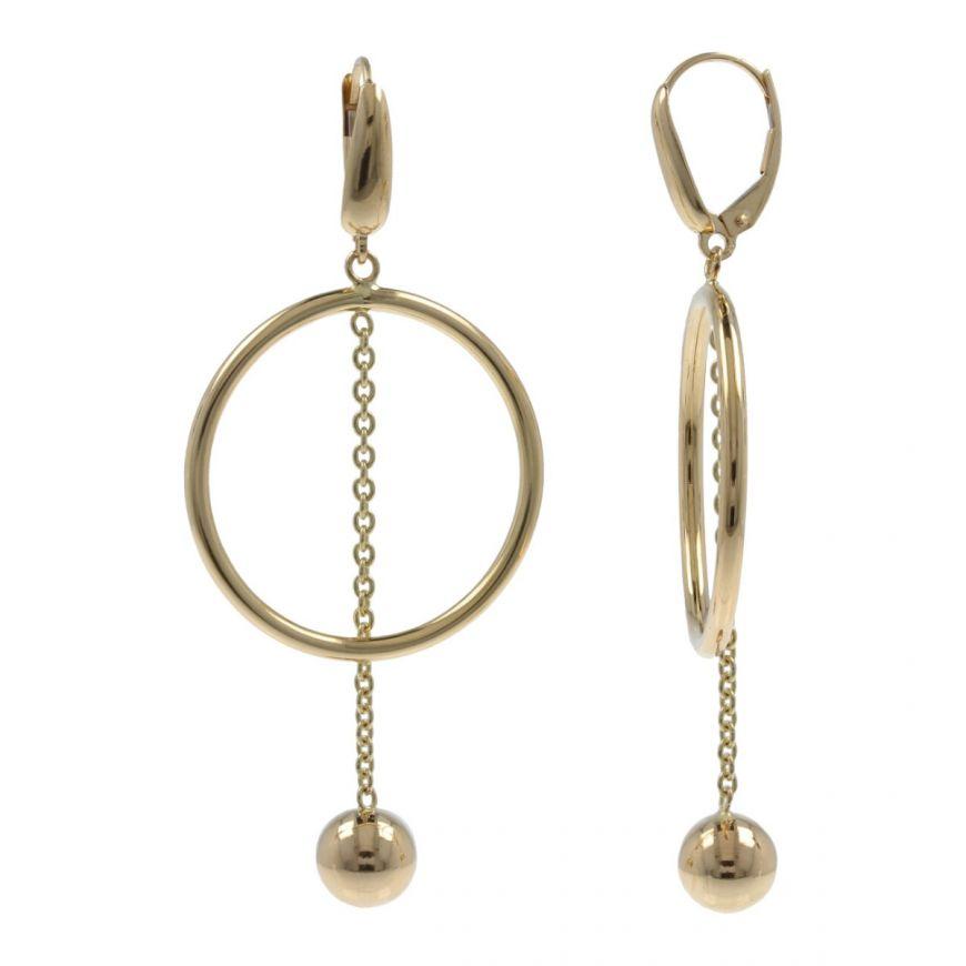 Orecchini con cerchio e pendente in oro giallo 14kt   Gioiello Italiano