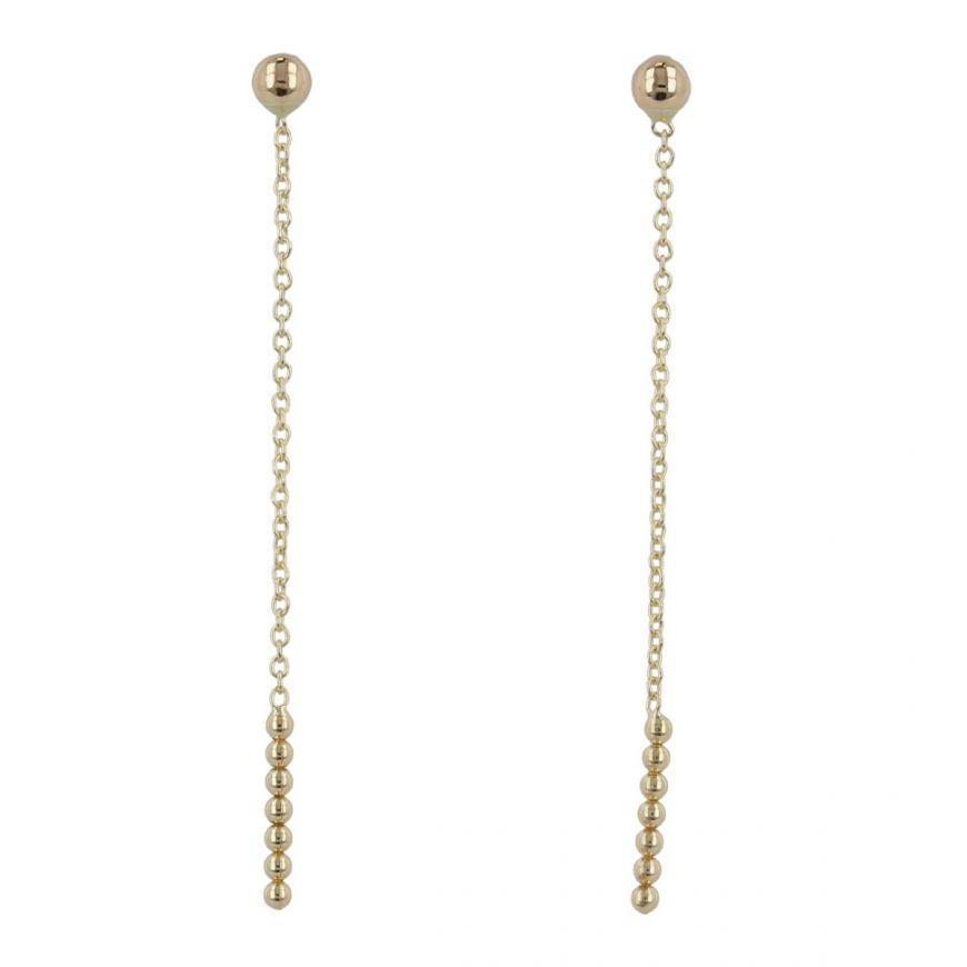 Orecchini a filo con perline in oro giallo | Gioiello Italiano