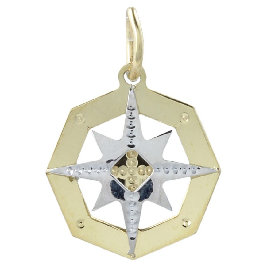 "Yellow and white gold ""Wind Rose"" octagonal pendant 