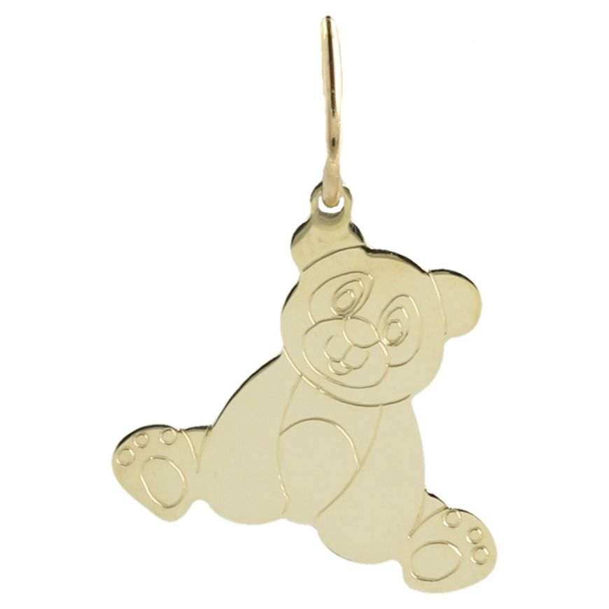 "Yellow gold engraved ""Teddy Bear"" pendant 